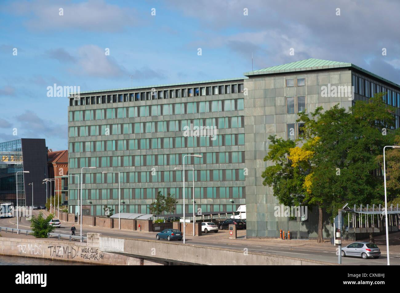Government office buildings along Inderhavn canal at Slottsholmen island central Copenhagen Denmark Europe - Stock Image