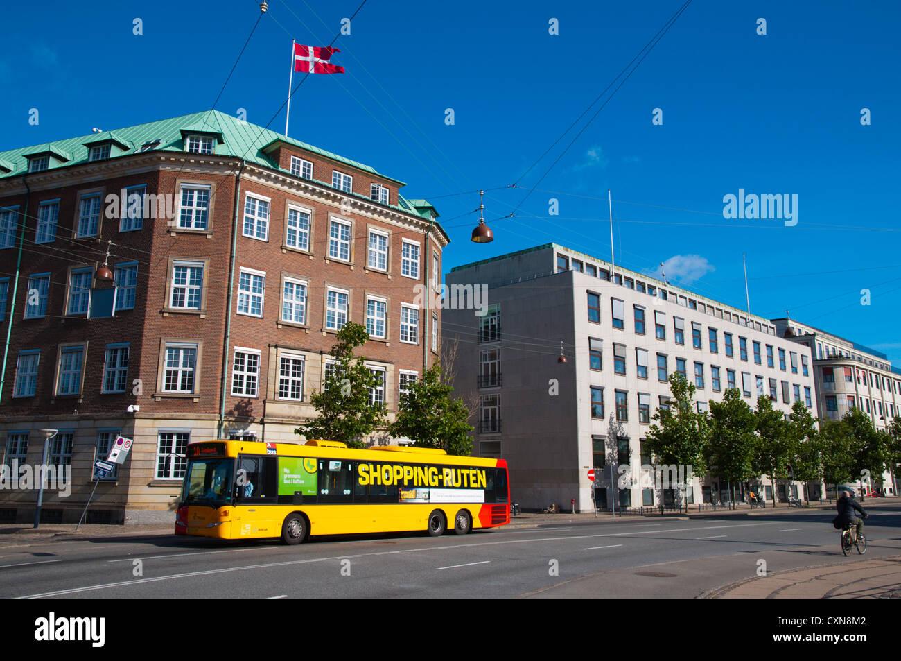 Public transportation bus Holmens Kanal street central Copenhagen Denmark Europe - Stock Image