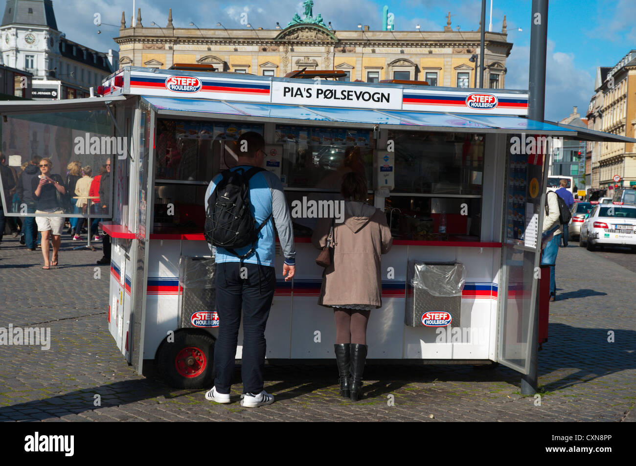 Sausage grill snack stand Kongens nytorv square central Copenhagen Denmark Europe - Stock Image