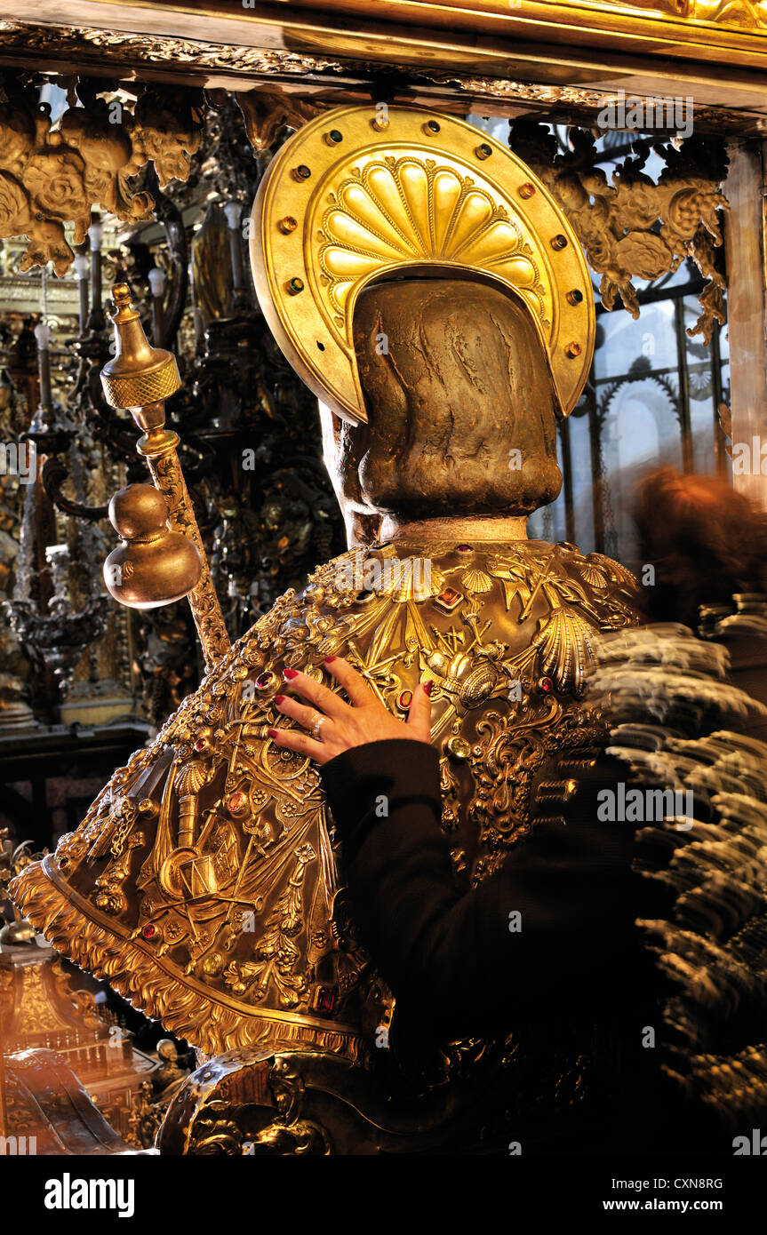 Spain, St. James Way: Embrace of the Apostle in the Cathedral of Santiago de Compostela in Galicia - Stock Image