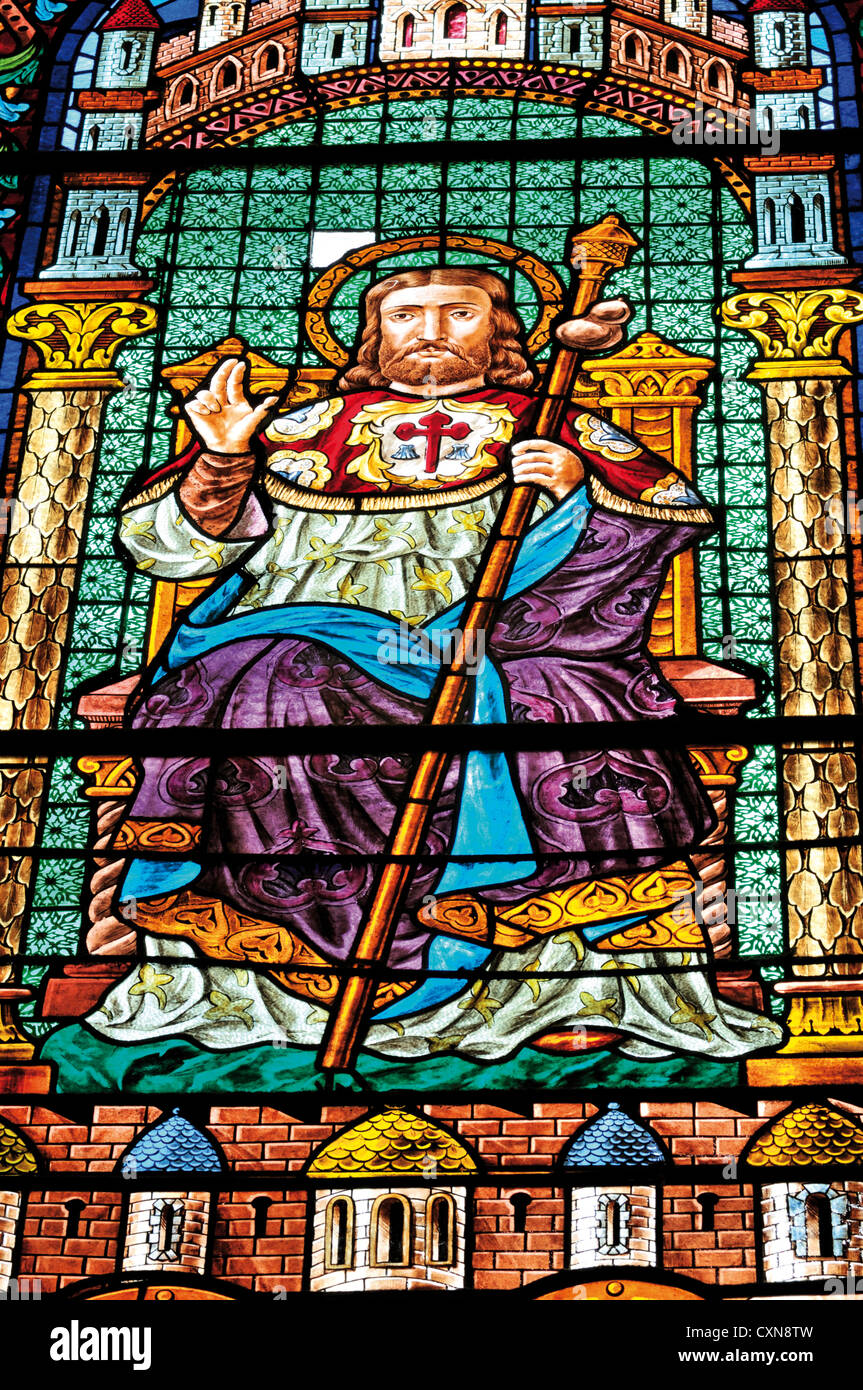 Spain, St. James Way: Glass window with Saint James  in the Cathedral of Santiago de Compostela Stock Photo