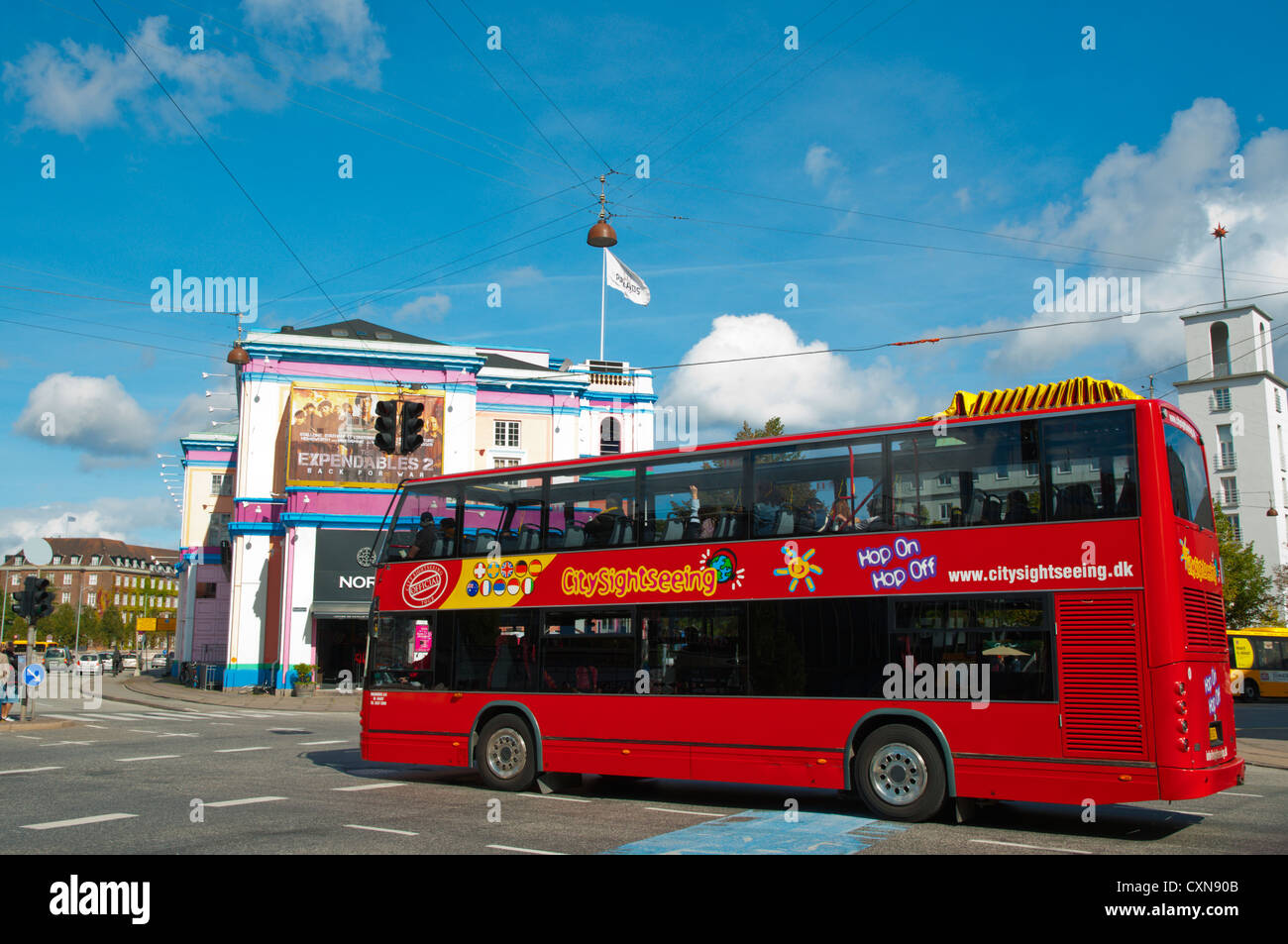 Sightseeing double decker tour bus Axeltorv square central Copenhagen Denmark Europe - Stock Image