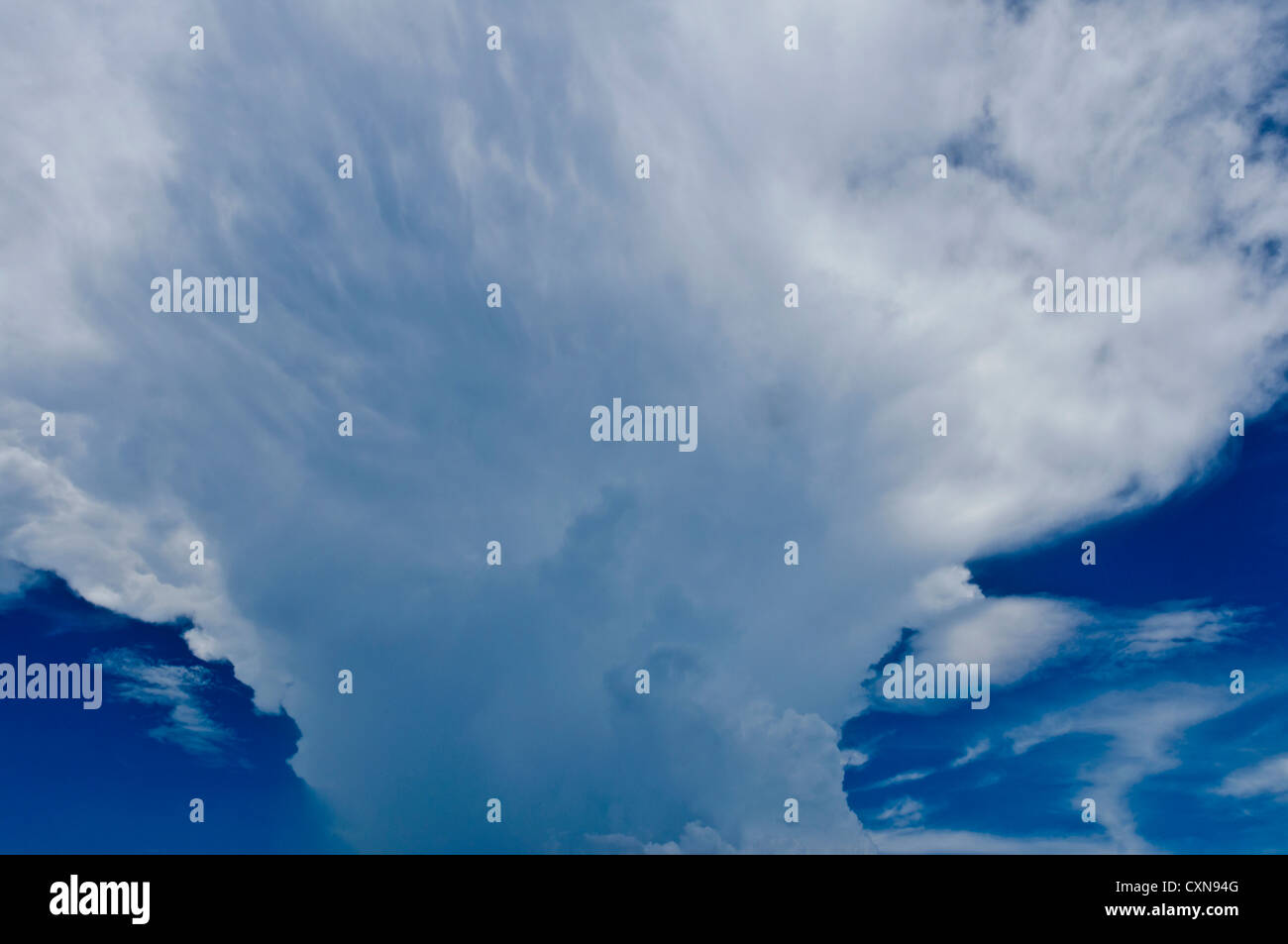 Single-cell Cumulonimbus incus (Cb) towering vertical cloud (family D2), indicates thunderstorms and inclement weather, - Stock Image