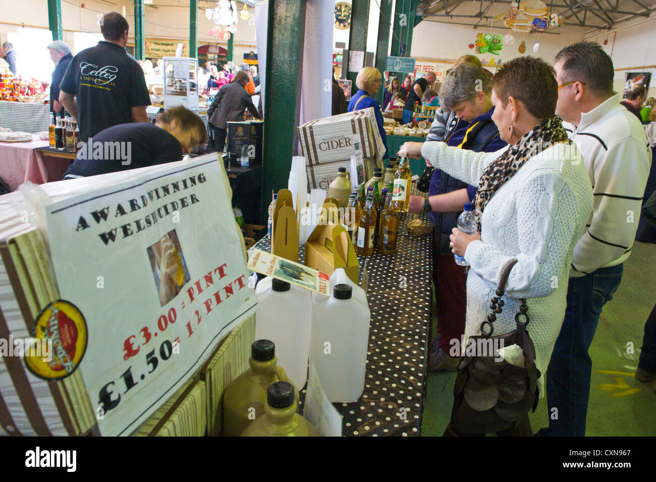 Cider for sale at Brecon Beacons National Park Food Festival in Market Hall Brecon Powys South Wales UK Stock Photo