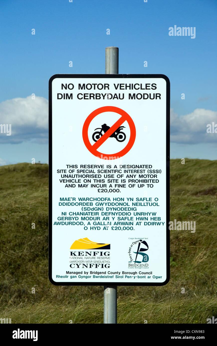 no motor vehicles sign kenfig national nature reserve near porthcawl wales uk - Stock Image