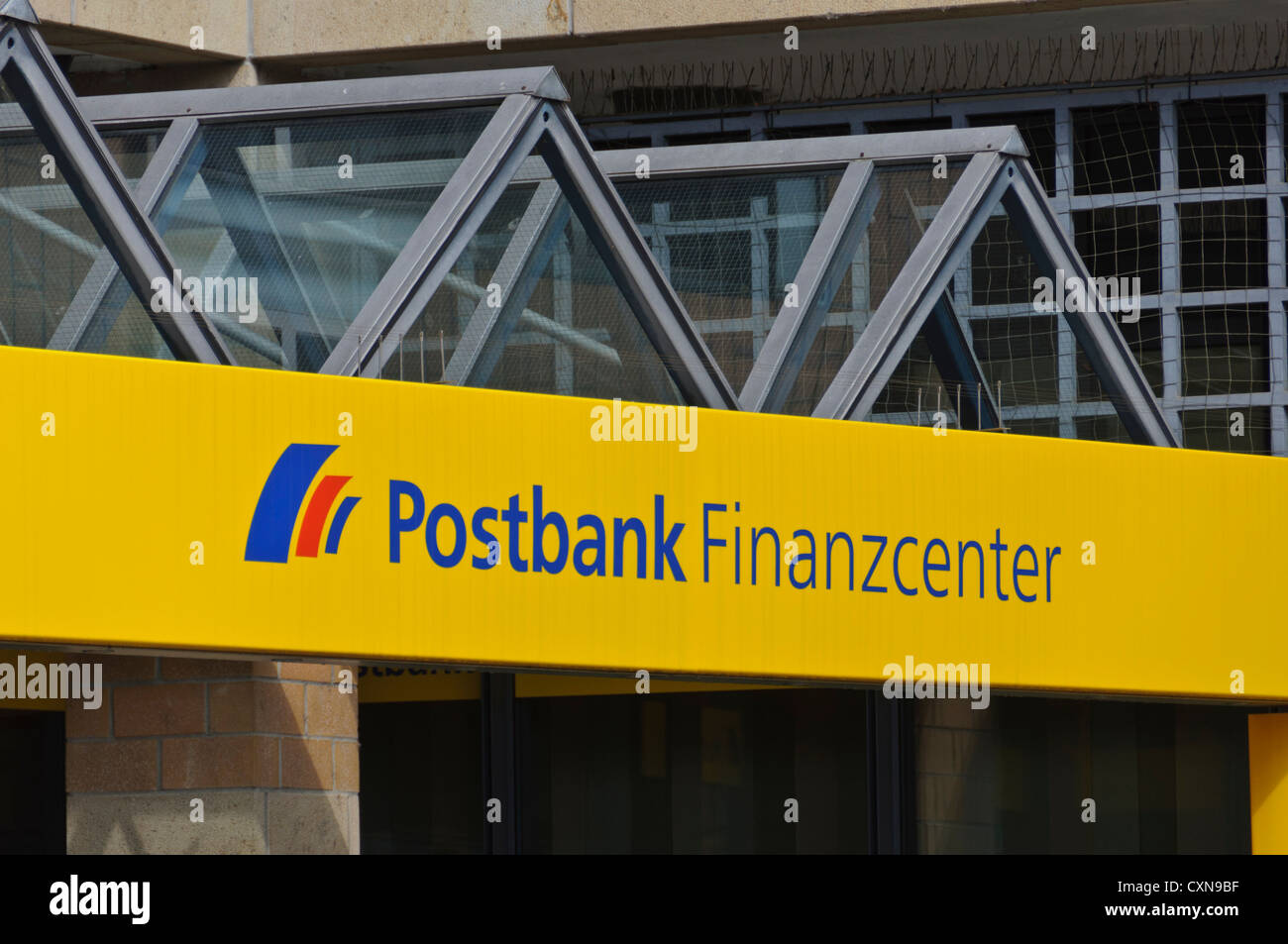 Postbank Finanzcenter, finance centre, sign and logo, entrance of a German bank branch, Heilbronn, South Germany - Stock Image
