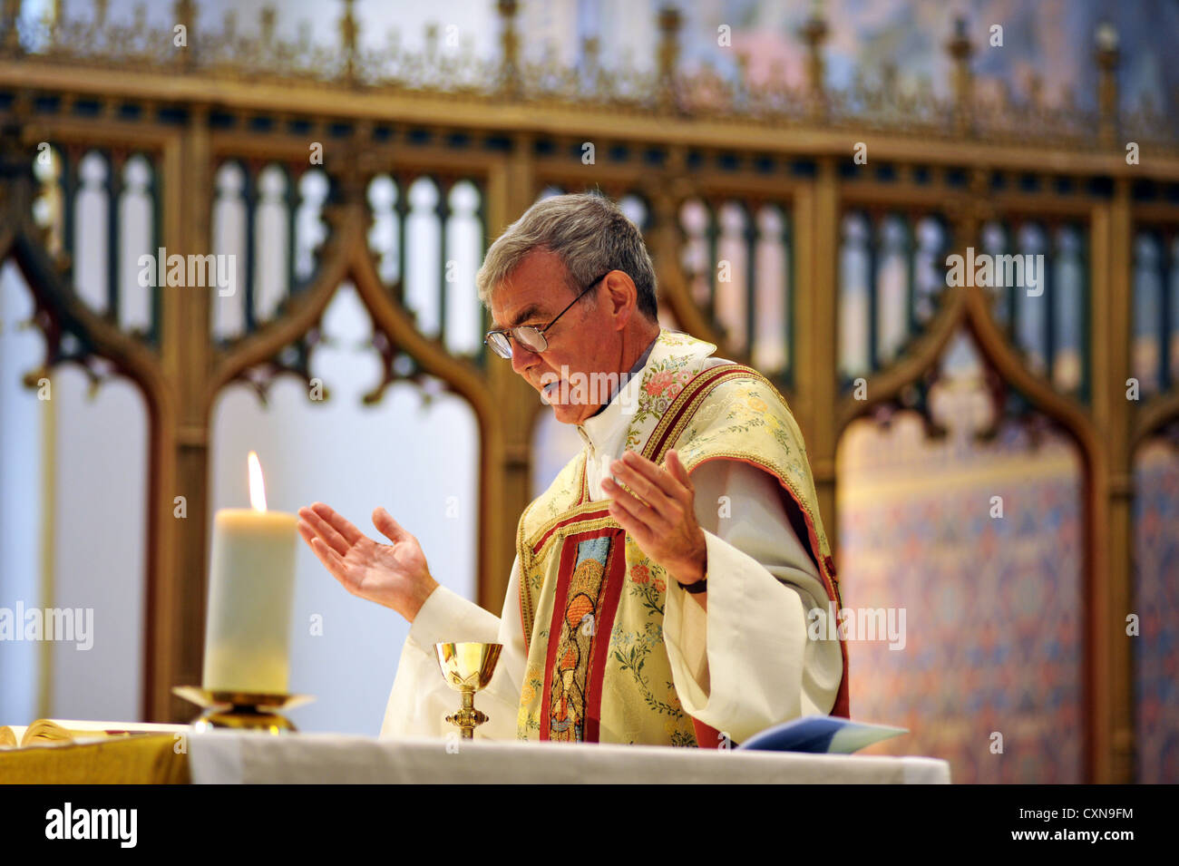 Catholic Priest at a wedding mass, Lancashire UK - Stock Image
