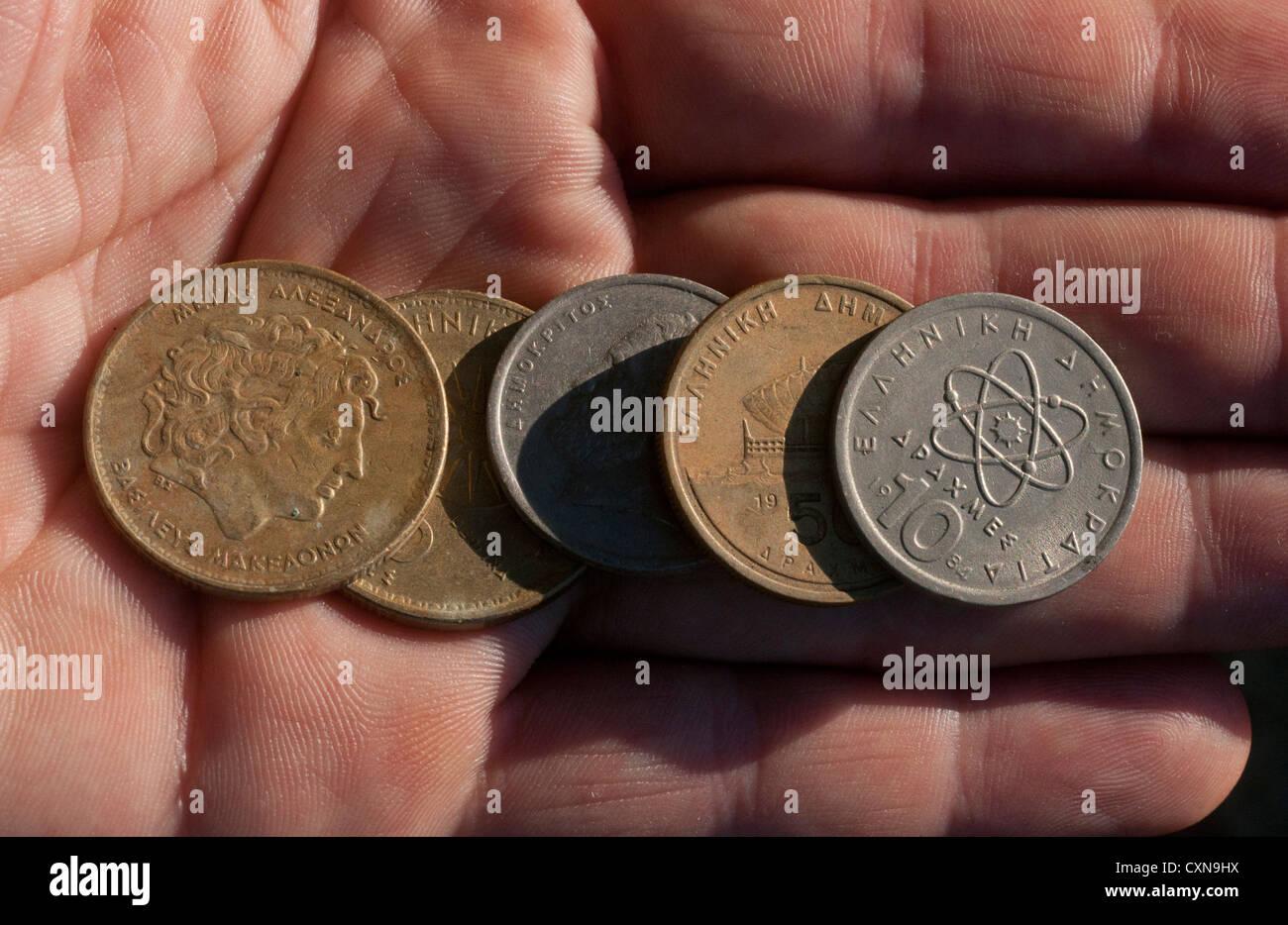 Greek Drachma coins, Greece - Stock Image