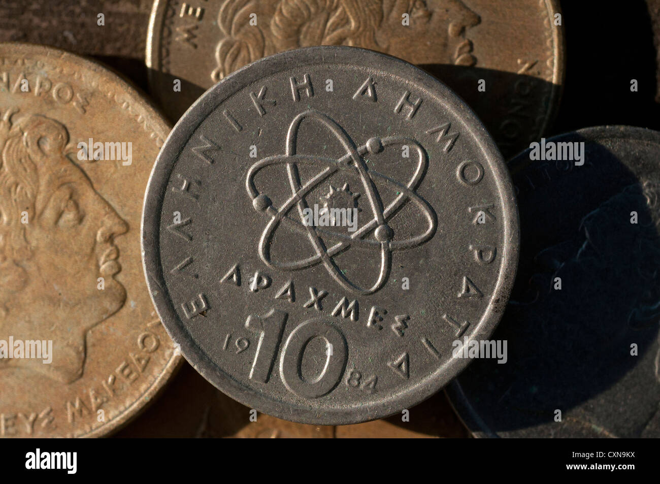 Greek Drachma coins, Greece - Stock Image