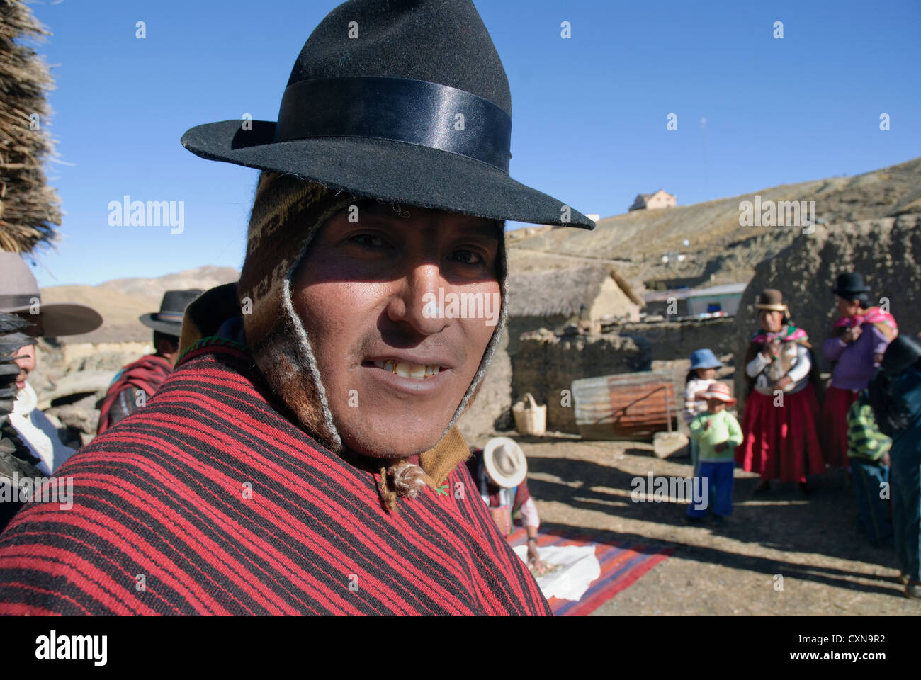 Aymara in traditional dress in the community of Tuni, Cordillera Real - Stock Image