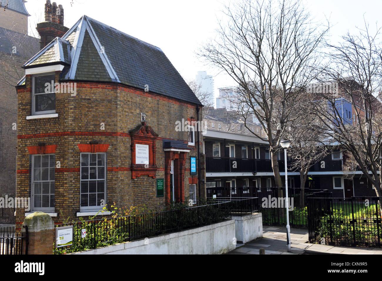 Quaker Meeting House Bunhill Fields, Islington London set amongst social housing. - Stock Image