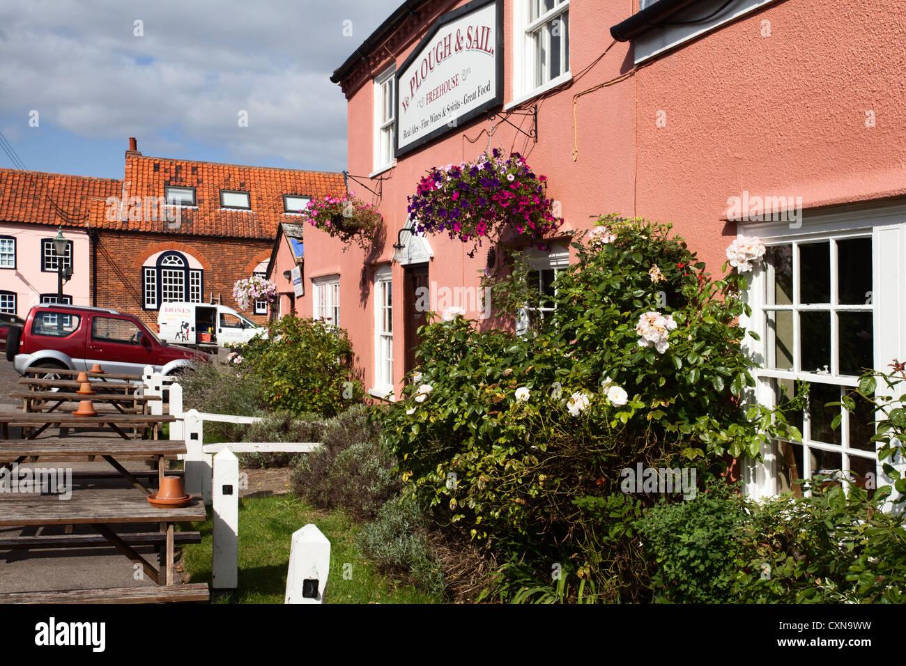 Plough and Sail Pub at Snape Maltings Suffolk England - Stock Image