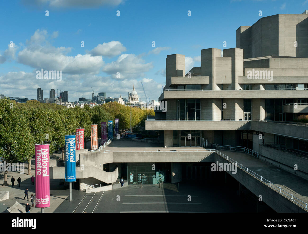 National Theatre, London, showing St Paul's Cathedral and City of London, UK - Stock Image