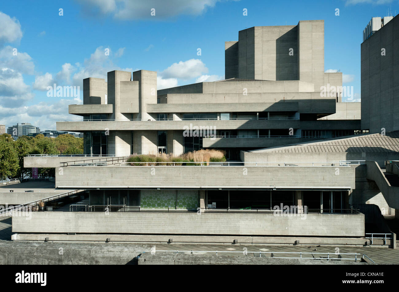 National Theatre, South Bank, London, UK, designed by Denys Lasdun, showing architecture - Stock Image