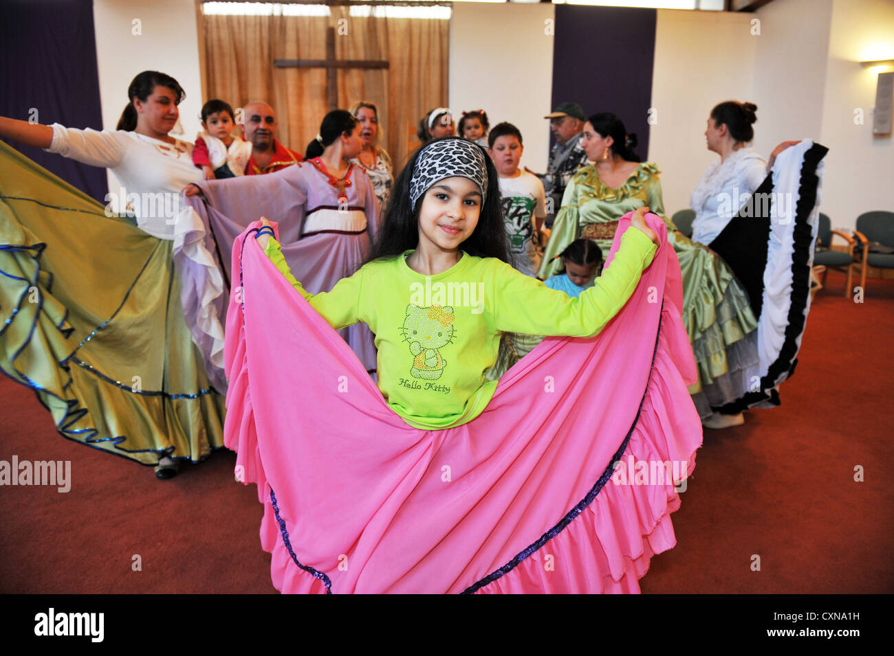 Roma Community in traditional clothing now living in Bradford UK - Stock Image