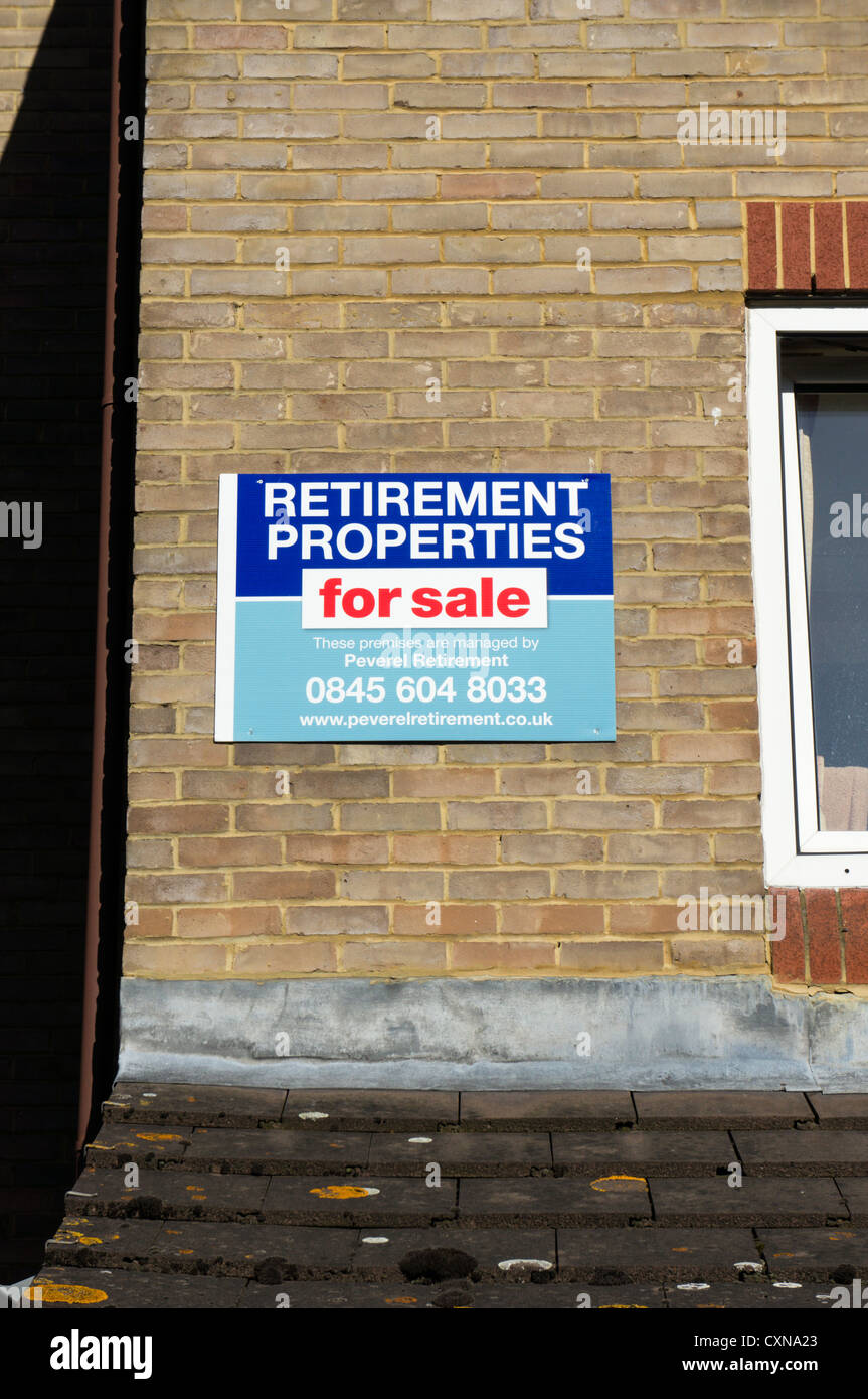 Retirement Properties for sale sign. - Stock Image