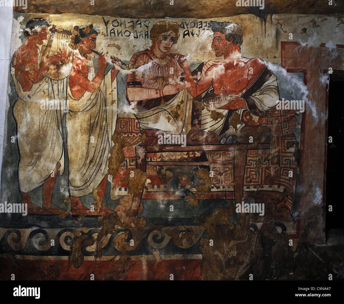 Etruscan Art. Tomb of the Shields. Tarquinia. Velhur Velcha and his wife, Ravnthu Aprthnei. Ny Carlsberg Glyptotek. - Stock Image