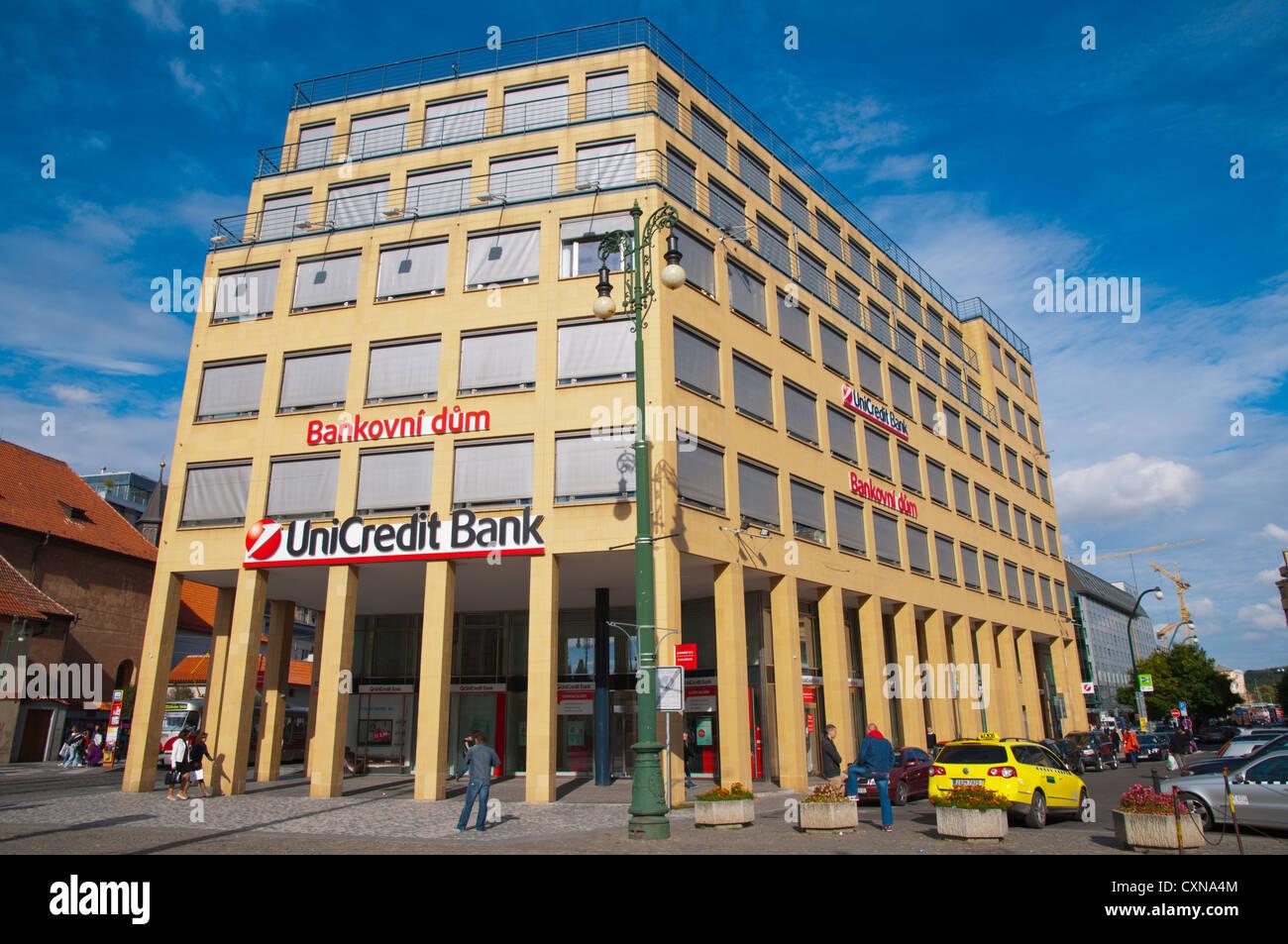 Bankovni dum the Banking house Namesti Republiky square central Prague Czech Republic Europe - Stock Image