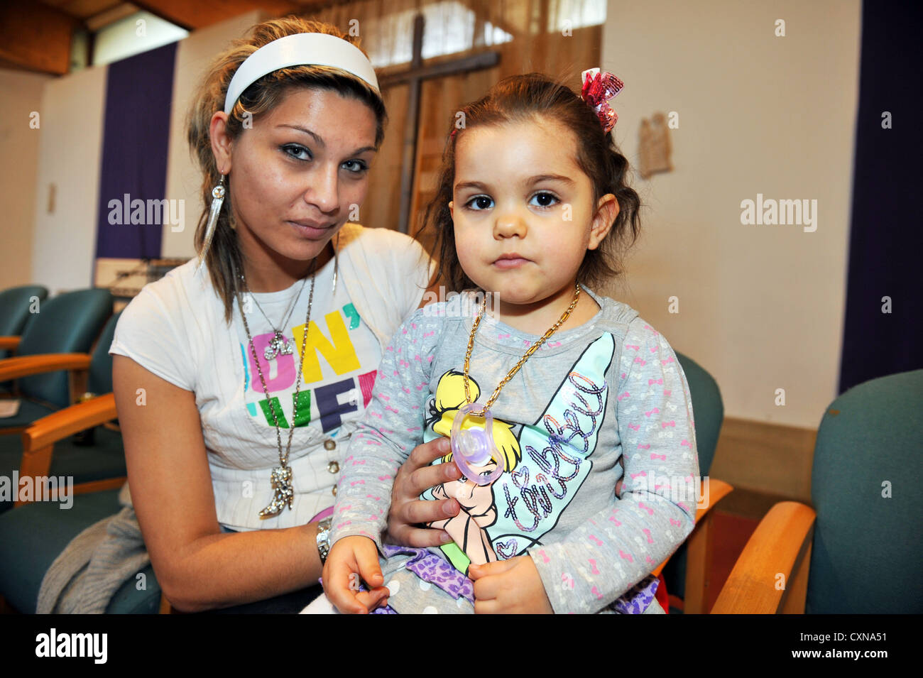 Roma mother and child now living in Bradford UK - Stock Image