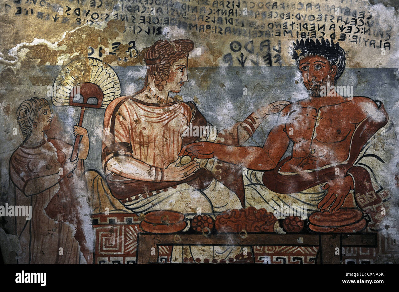 Etruscan Art. Tomb of the Shields. Tarquinia. Larth Velcha and his wife, Velia Seitithi. Copy. Ny Carlsberg Glyptotek. - Stock Image