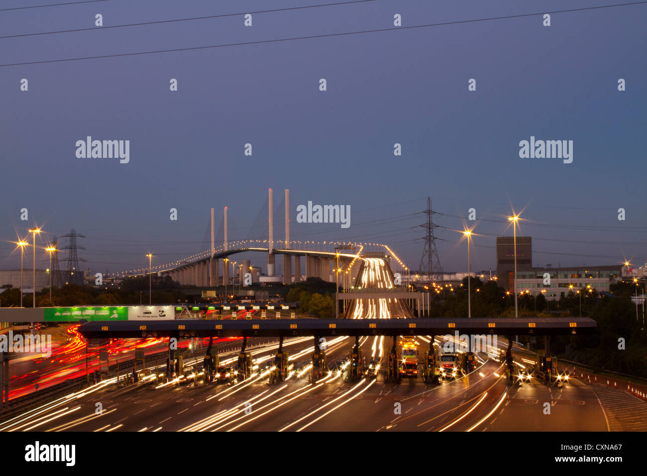 Toll booths at the Dartford River Crossing, on the M25, showing Queen Elizabeth 2nd Bridge. - Stock Image