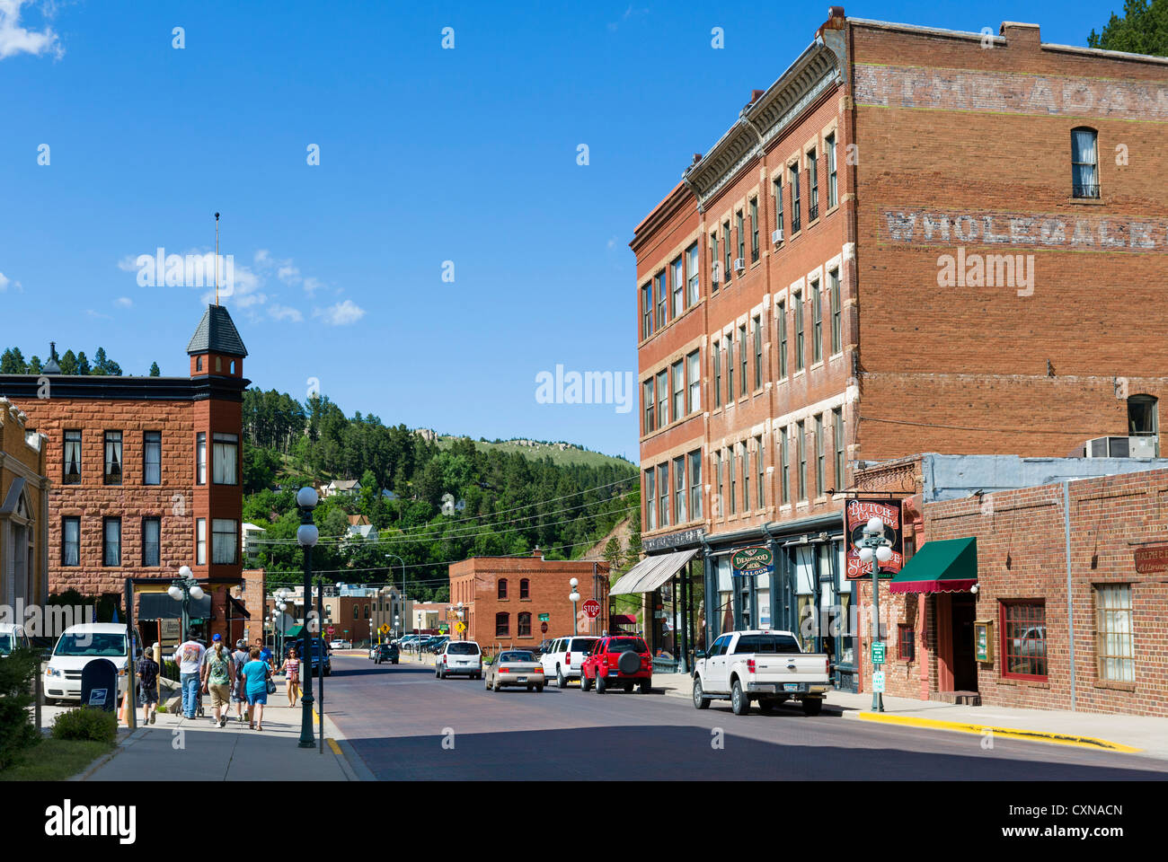 Sherman Street in the historic town of Deadwood, South Dakota, USA - Stock Image