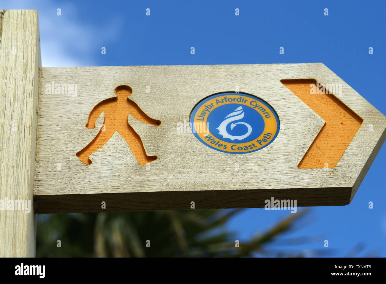 A signpost for the Wales Coast Path - Stock Image