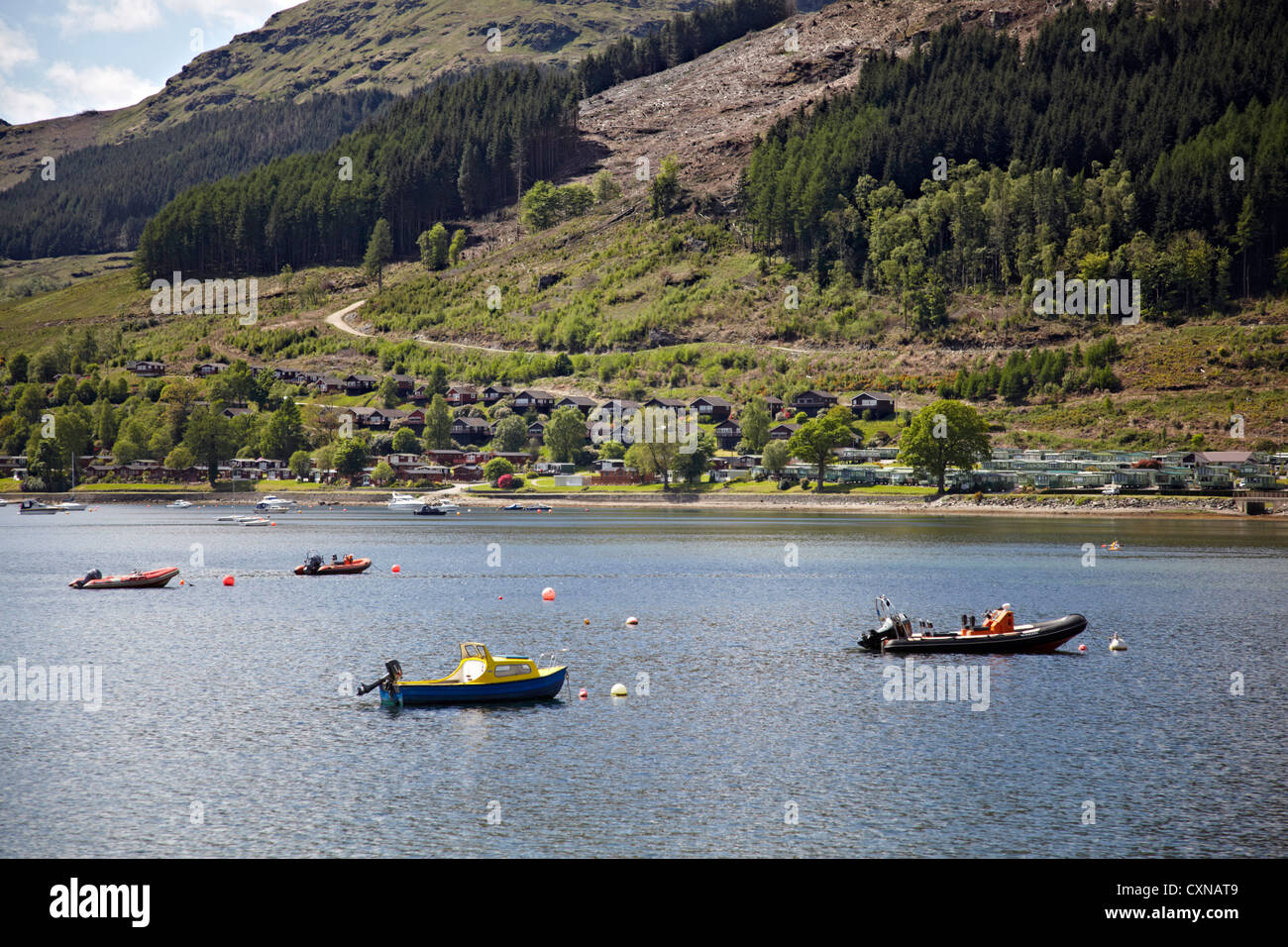 Holiday Lodges on the Drimsynie Estate at Lochgoilhead. Family fun Leisure centre. Stock Photo