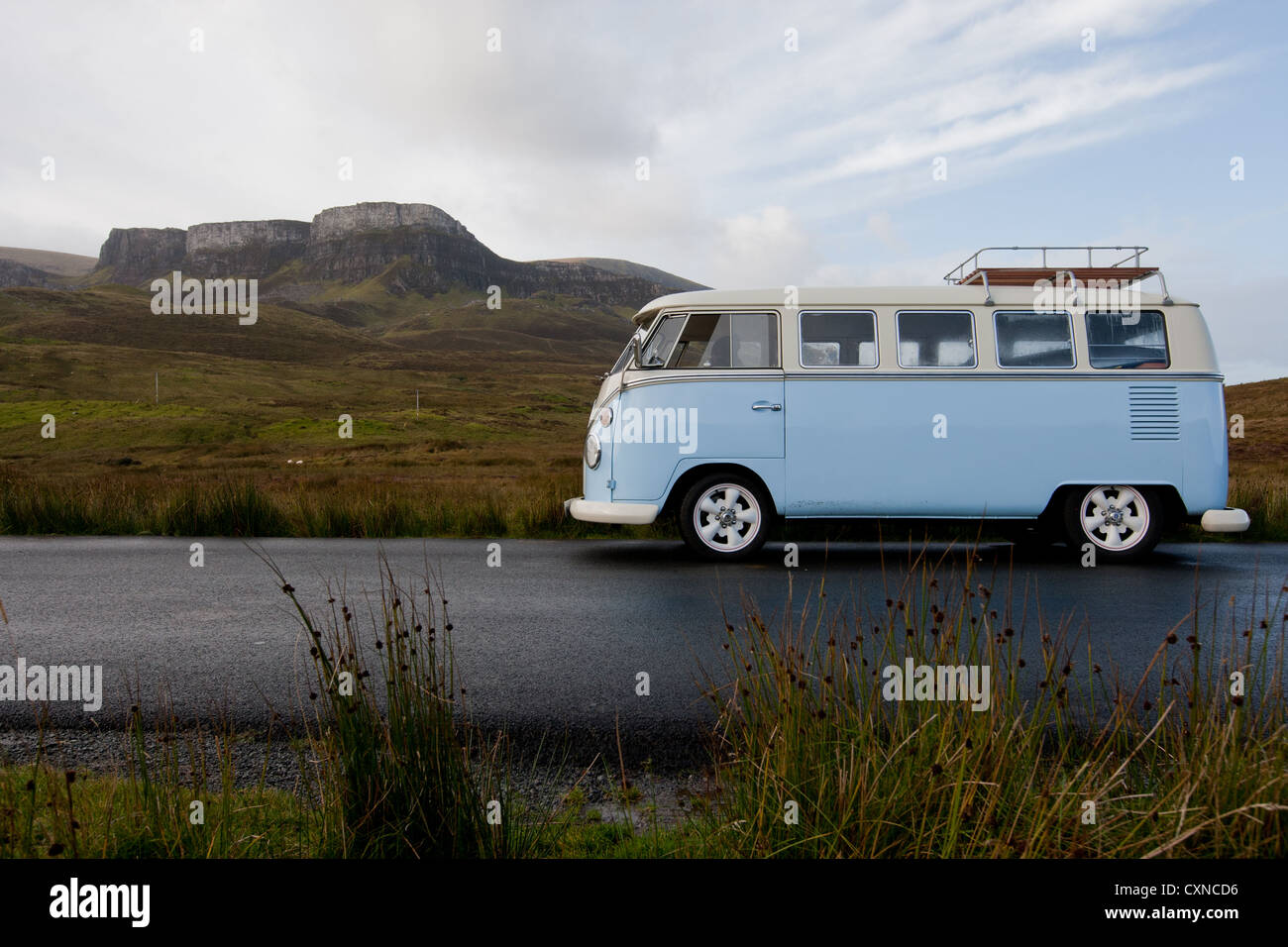 volkswagon campervan, in front of  The Quirang, on the Isle of Skye, Hebrides, Scotland - Stock Image