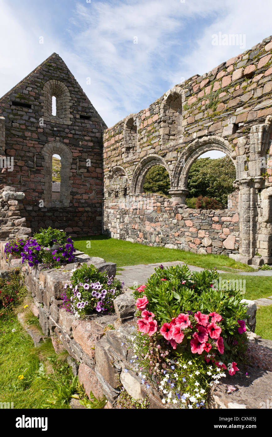 Ruins of the Nunnery founded in the early 13th century on Iona, off the Isle of Mull, Inner Hebrides, Argyll and - Stock Image