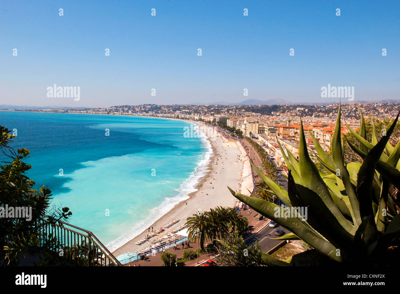 Europe France Nice , from the Park and the hill  of the castle  has a wonderful view over the Baie des Anges. - Stock Image