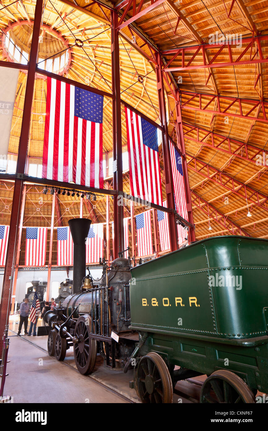 Baltimore and Ohio Railroad Museum, Baltimore, Maryland, has oldest collection of American locomotives in world - Stock Image