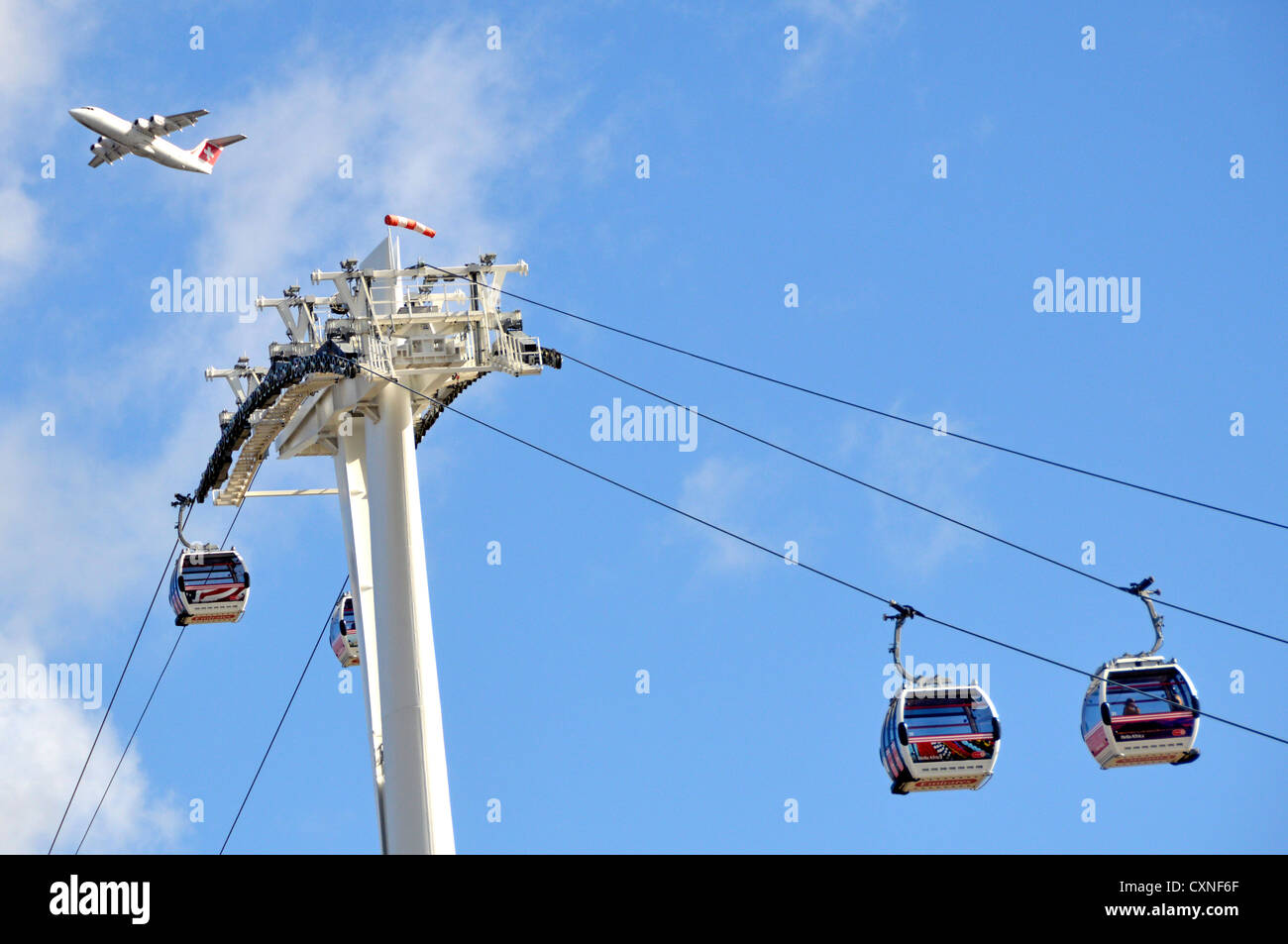 Swiss International Air Lines passenger jet on take off from London City Airport flying above top of cable cars Stock Photo