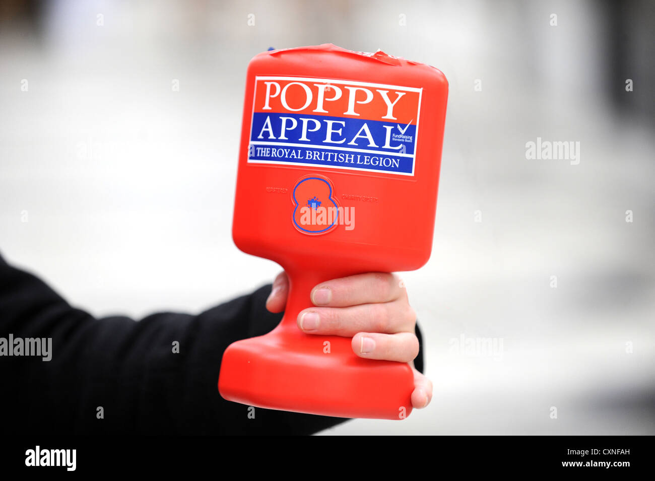 Collecting for the Royal British Legion Poppy Appeal - Stock Image