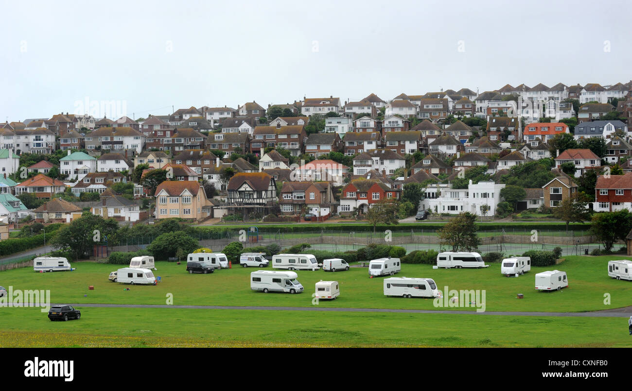 A group of travellers set up an illegal camp in Saltdean park in East Sussex - Stock Image