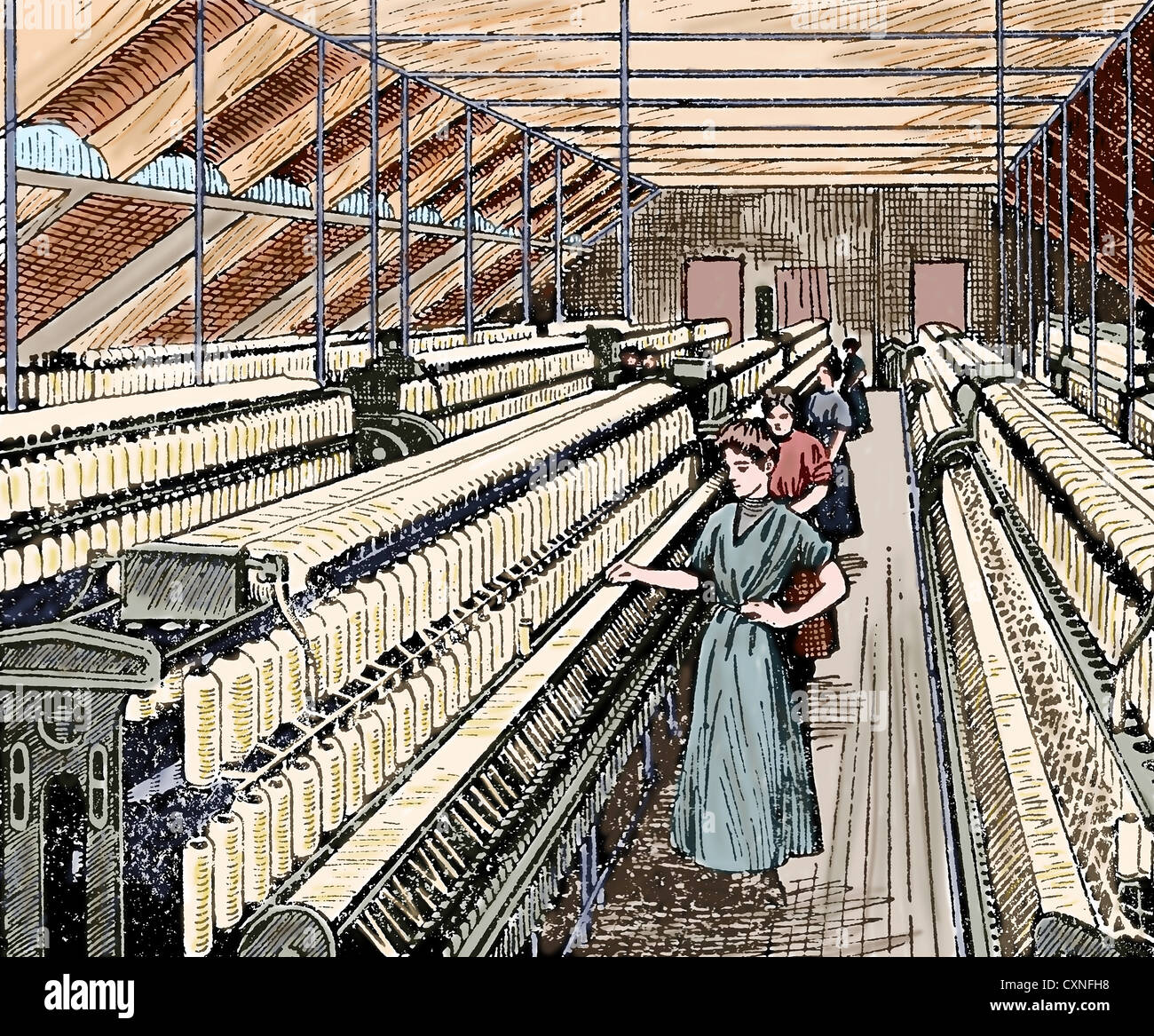 Textile Industry. Ring Spinning. Manufacturing process of cotton yarn. Women working in the roving. Colored engraving. - Stock Image