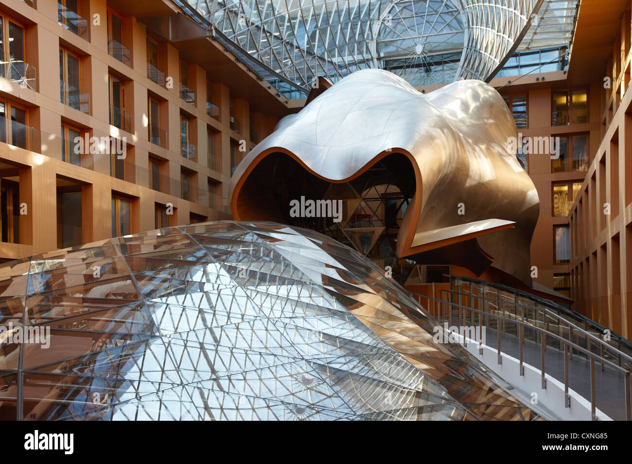 DG Bank Berlin atrium by Frank Gehry - Stock Image