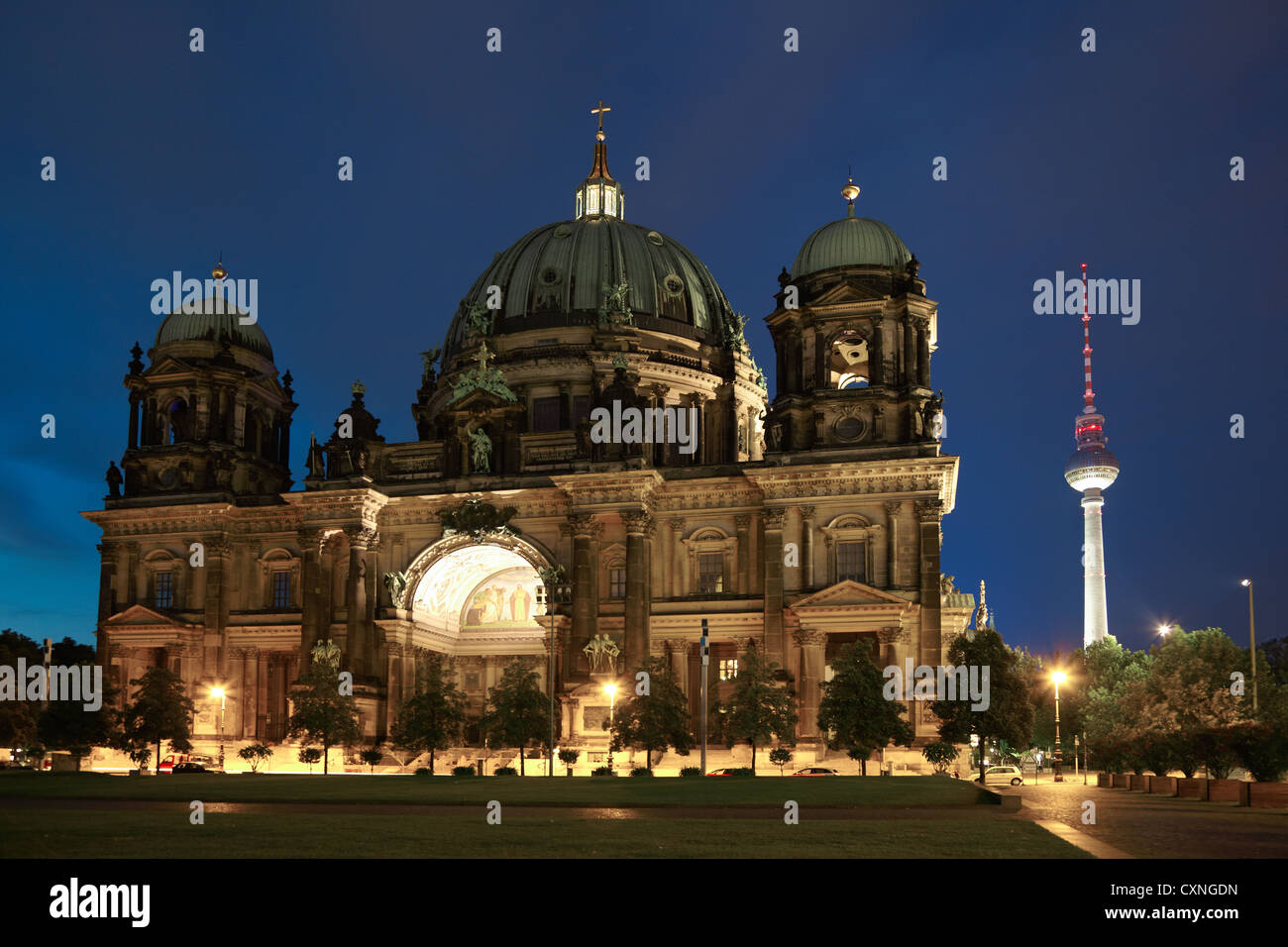 Berlin cathedral or Berliner Dom at night, Germany - Stock Image