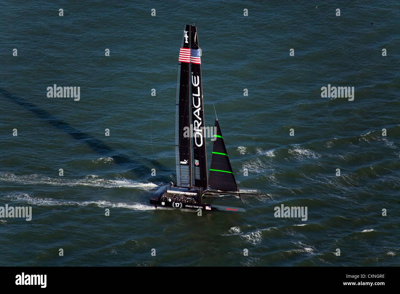 aerial photograph Oracle Racing America's Cup San Francisco bay California - Stock Image