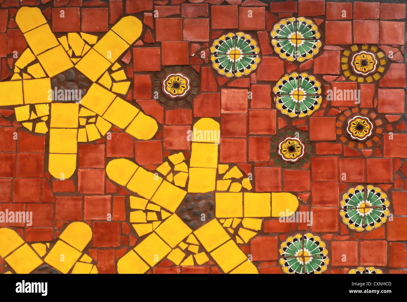 wall of Moravian tiles - Stock Image