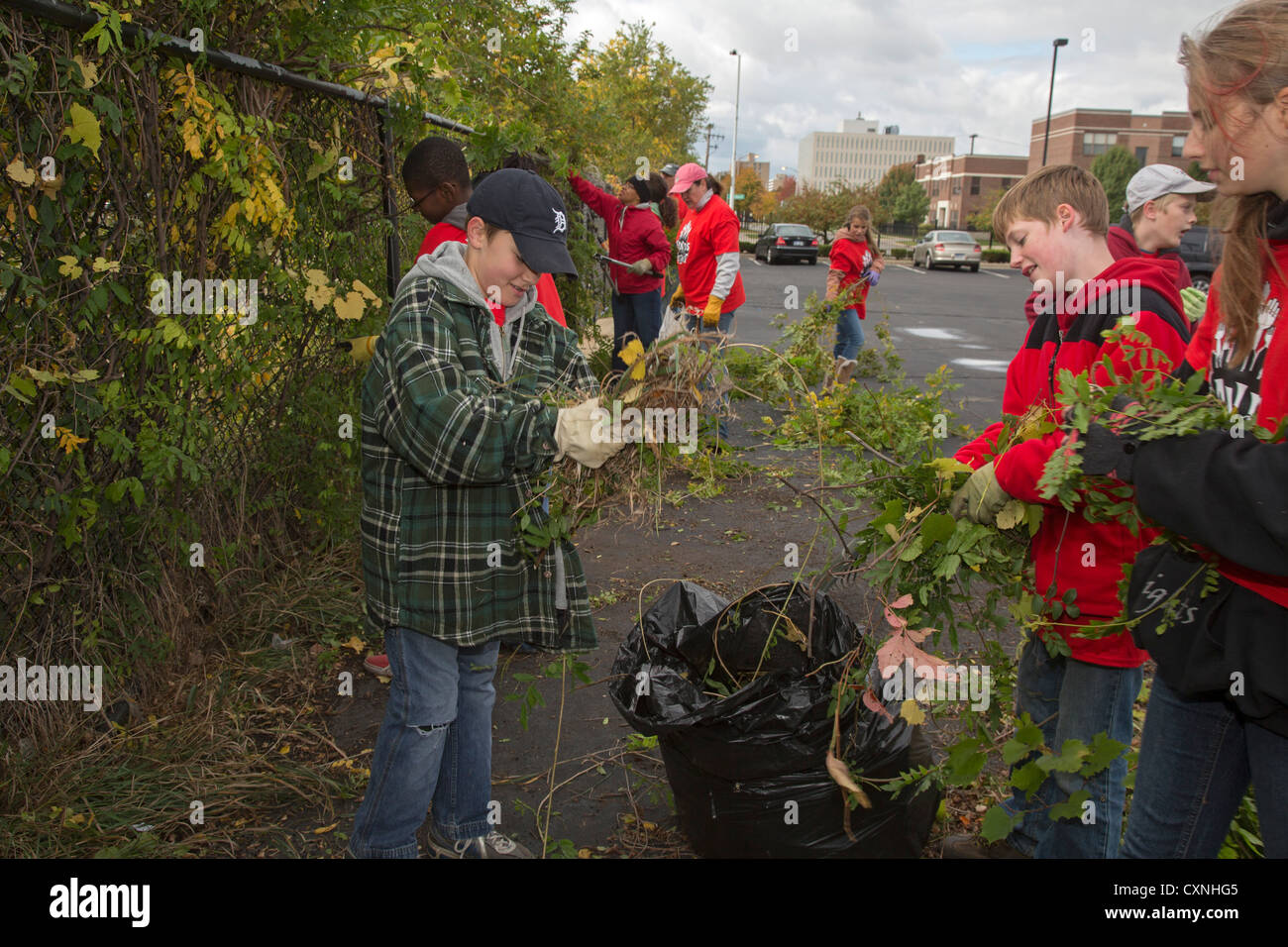 Volunteers Clear Brush from Fence Along Vacant Lot - Stock Image