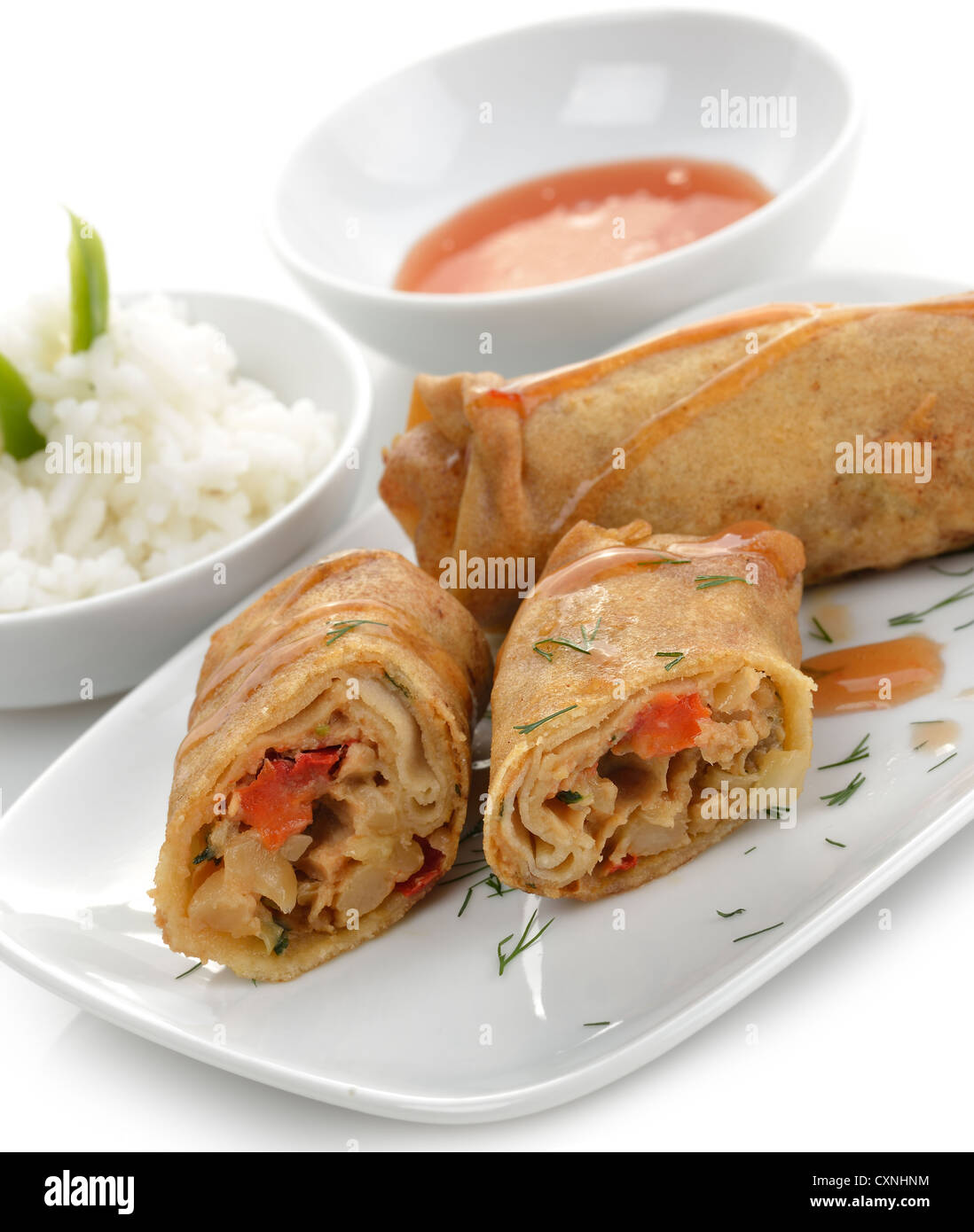 Fried Chicken Rolls With Rice And Sauce - Stock Image