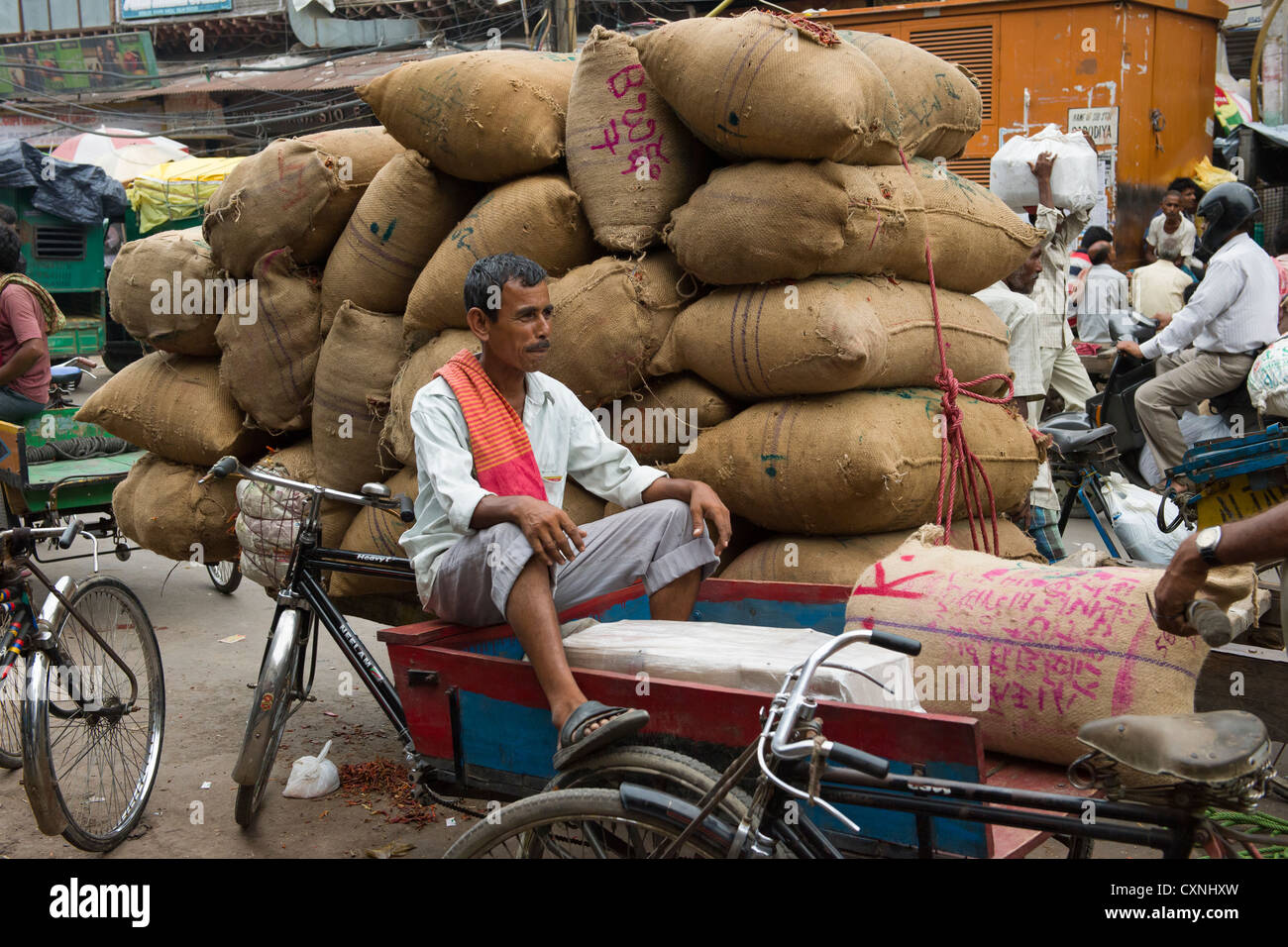 Cyclecart driver in front of a cart piled with burlap sacks on Khari Baoli Road, (Spice Market Bazaar off Chandni - Stock Image