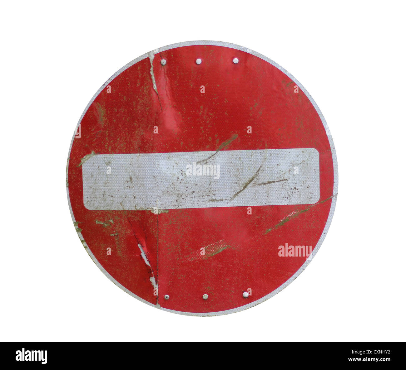 Old red stop road sign isolated on white background. - Stock Image