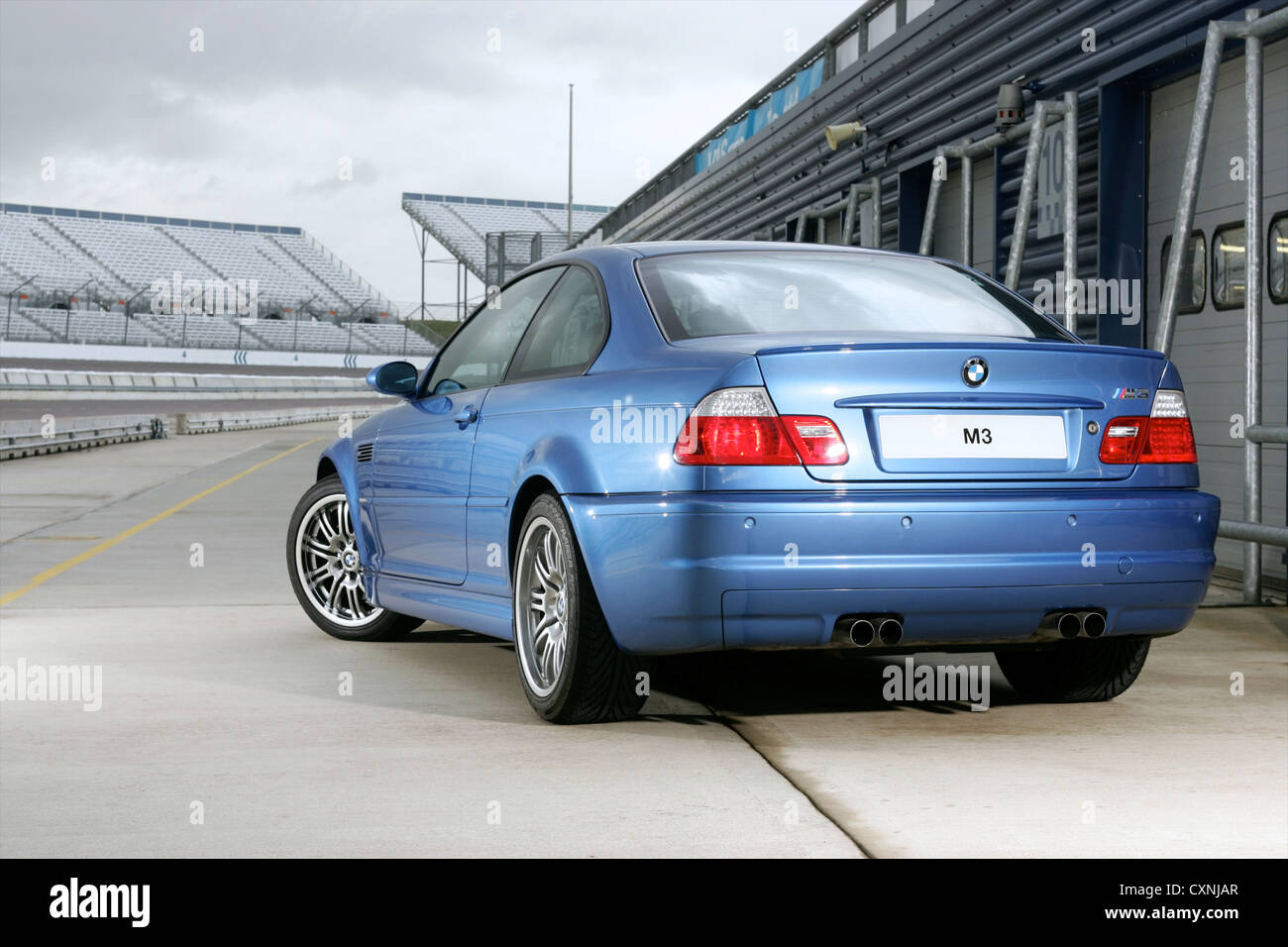 Rear 3/4 BMW M3 Parked In Pit Lane   Stock Image