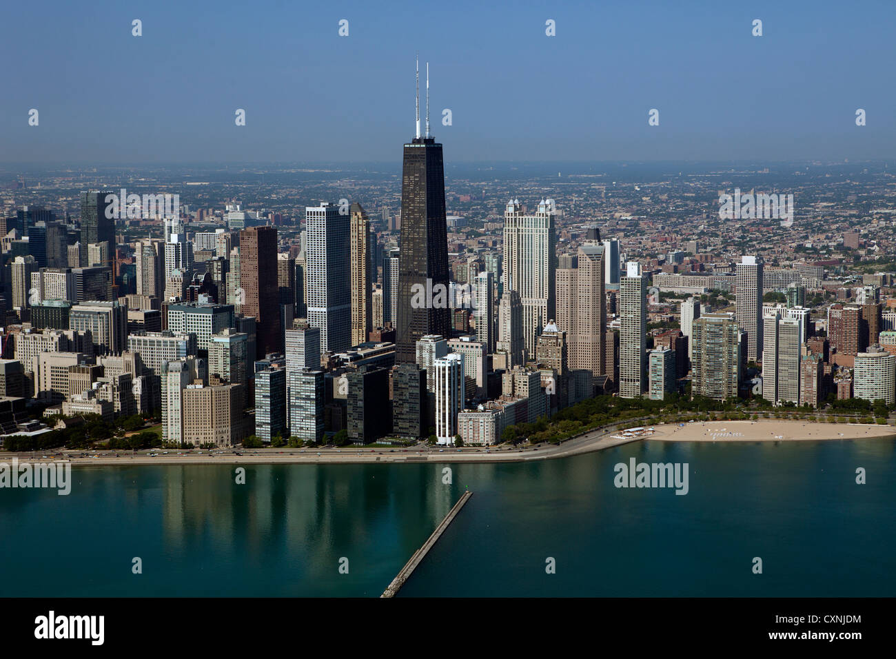 aerial photograph downtown Chicago, Illinois - Stock Image