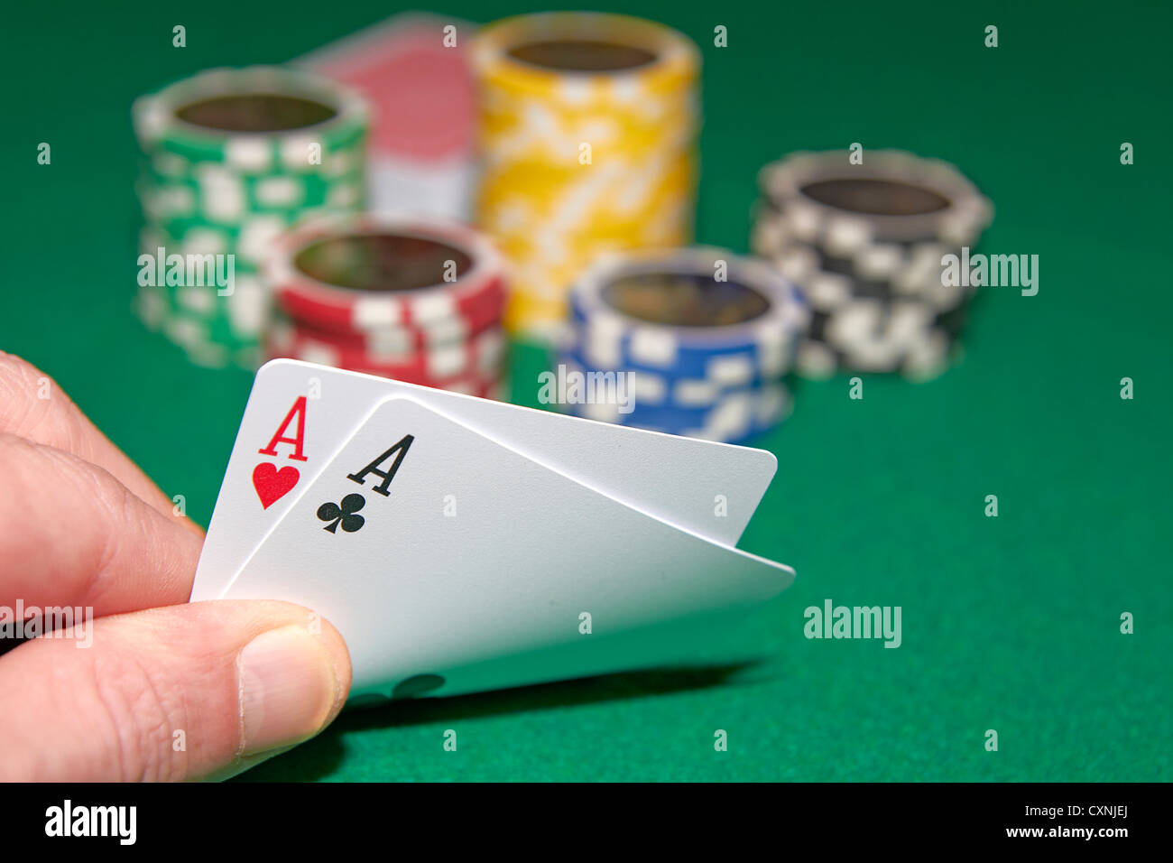 Poker, two aces and gambling chips - Stock Image