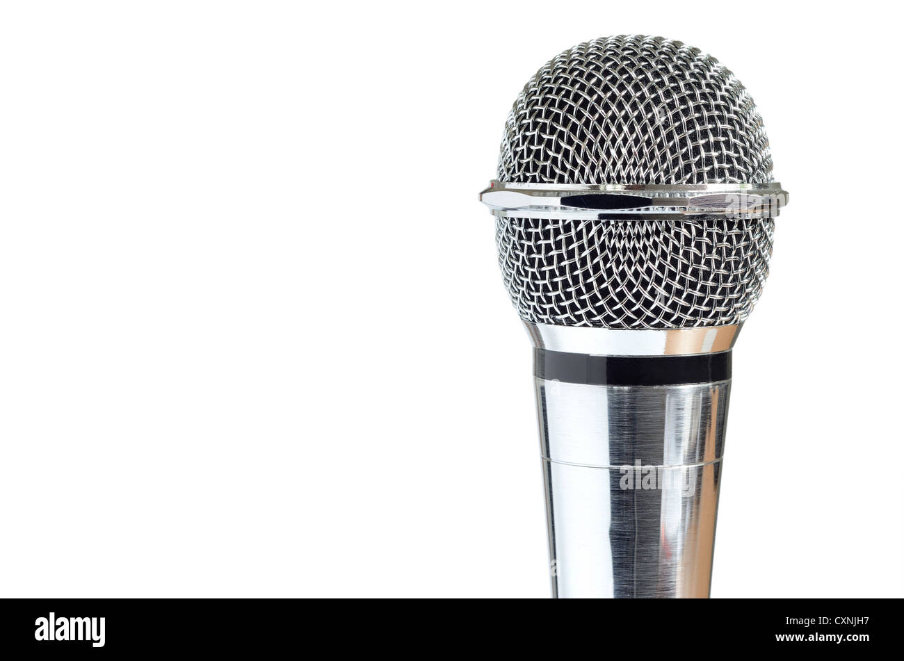 closeup of vintage microphone isolated over white background - Stock Image