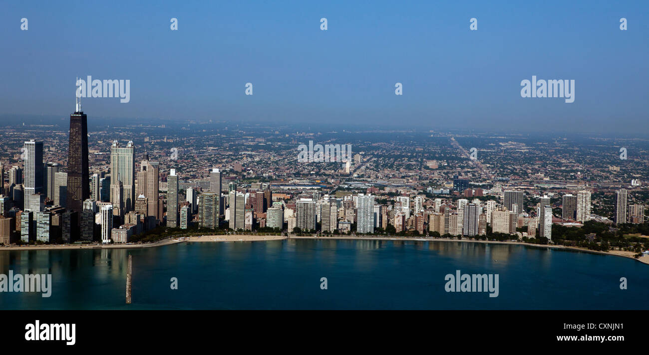 aerial photograph waterfront Chicago, Illinois - Stock Image