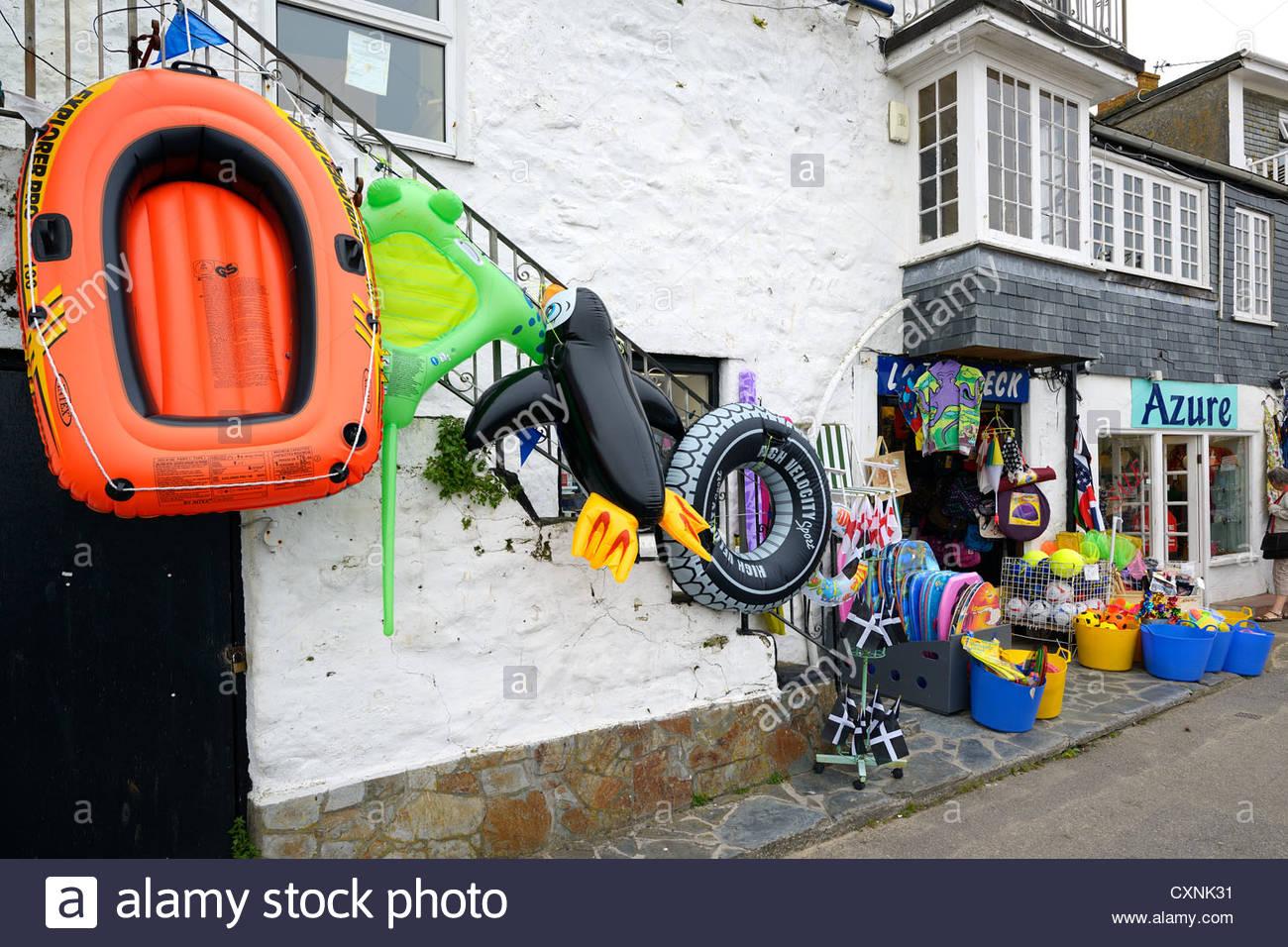 Beach toys on sale, St Ives, Cornwall, England Stock Photo